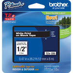 "Brother TZe335 Laminated Tape for P-Touch Labelers (White on Black, 0.47"" x 26.2')"