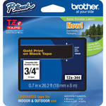 "Brother TZe344 Laminated Tape for P-Touch Labelers (Gold on Black, 0.7"" x 26.2')"