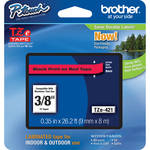 "Brother TZe421 Laminated Tape for P-Touch Labelers (Black on Red, 0.35"" x 26.2')"