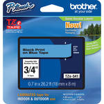 "Brother TZe541 Laminated Tape for P-Touch Labelers (Black on Blue, 0.7"" x 26.2')"