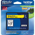 "Brother TZe631 Laminated Tape for P-Touch Labelers (Black on Yellow, 0.47"" x 26.2')"