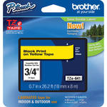 "Brother TZe641 Laminated Tape for P-Touch Labelers (Black on Yellow, 0.7"" x 26.2')"