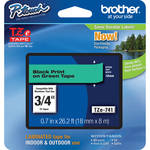 "Brother TZe741 Laminated Tape for P-Touch Labelers (Black on Green, 0.7"" x 26.2')"