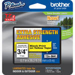 "Brother TZeS641 Tape with Extra-Strength Adhesive for P-Touch Labelers (Black on Yellow, 0.7"" x 26.2')"
