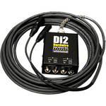 Whirlwind DI2-025-BK Di2 Hardwired Dual Direct Box with XLR Fanout (25', Black)