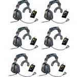 Eartec 6-User Simultalk 24G Communication System with Ultra Single Headsets