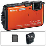Nikon COOLPIX AW100 Waterproof Digital Camera with Basic Accessory Kit (Orange)