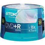 TDK DVD+R 4.7GB 16x Recordable Discs (Spindle Pack of 50)