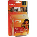 "TDK DVD-R Mini 3"" (8cm) Recordable Disc 1.4GB 2x (5-Pack, Jewel Case)"