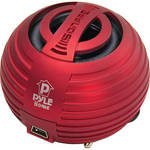 Pyle Home Bass Expanding Chainable Rechargeable Mini Speakers (Red)