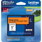 "Brother TZeB51 Laminated Tape for P-Touch Labelers (Black on Fluorescent Orange, 0.94"" x 16.4')"