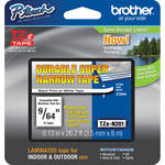 "Brother TZeN201 Non-Laminated Super Narrow Tape for P-Touch Labelers (Black on White, 0.13"" x 26.2')"