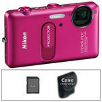 Nikon CoolPix S1200pj Digital Camera with Built-In Projector (Pink) with Basic Accessory Kit