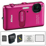 Nikon CoolPix S1200pj Digital Camera with Built-In Projector (Pink) with Deluxe Accessory Kit