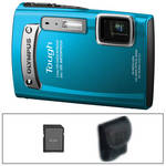 Olympus TG-320 Tough Digital Camera (Blue) with Basic Accessory Kit