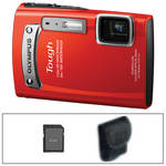 Olympus TG-320 Tough Digital Camera (Red) with Basic Accessory Kit