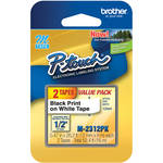 "Brother 0.47"" Black on White ""M"" Labeling Tape (26.2', 2 Rolls)"