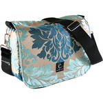 Capturing Couture Parisian Spirit Camera Bag (Damask Design in Taupe with Turquoise, Blue Accents)