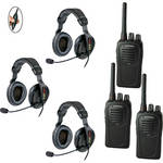 Eartec 3-User SC-1000 Two-Way Radio with Proline Double Inline PTT Headsets