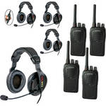 Eartec 4-User SC-1000 Two-Way Radio with Proline Double Inline PTT Headsets