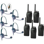 Eartec SC-1000 5-User Two-Way Radio System with Eclipse Inline PTT Headsets