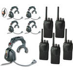 Eartec 5-User SC-1000 Two-Way Radio with Ultra Single Inline PTT Headsets