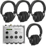 Aphex Headpod 4 Amplifier and 4 Headphones Package
