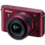 Nikon 1 J2 Mirrorless Digital Camera with 10-30mm VR Zoom Lens (Red)