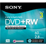 "Sony 3.14"" Double-Sided Rewritable DVD with Hangtab (3-Pack)"
