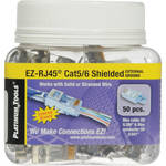 Platinum Tools Shielded EZ-RJ45 Connectors for CAT5e & CAT6 with External Ground (Jar Packaging, 50-Pieces)