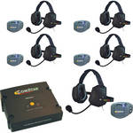 Eartec ComStar Com-Center Intercom Kit with 5 Beltpacks & 5 Xtreme Headsets