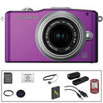 Olympus E-PM1 Mirrorless Micro Four Thirds Digital Camera Kit with 14-42mm f/3.5 - 5.6 II Lens and Deluxe Accessories (Purple)