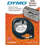 "Dymo Metallic LetraTag Tape (Black on Silver, 1/2"" x 13')"