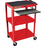 Luxor AVJ42KB Steel Adjustable A/V Cart with Pull-Out Keyboard Tray (Red)