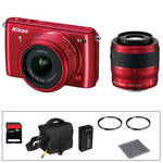 Nikon 1 S1 Mirrorless Digital Camera Basic Accessory Kit with 11-27.5mm and 30-110mm Lenses (Red)