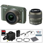 Nikon 1 S1 Mirrorless Digital Camera Deluxe Accessory Kit with 11-27.5mm and 30-110mm Lenses (Khaki)