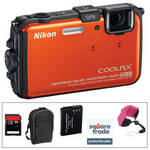 Nikon COOLPIX AW100 Waterproof Digital Camera with Deluxe Accessory Kit (Orange)