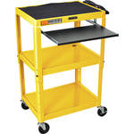 Luxor AVJ42KB Steel Adjustable A/V Cart with Pull-Out Keyboard Tray (Yellow)