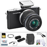 Olympus E-PM1 Mirrorless Micro Four Thirds Digital Camera Kit with 14-42mm f/3.5 - 5.6 II Lens and Basic Accessories (Black)