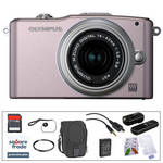Olympus E-PM1 Mirrorless Micro Four Thirds Digital Camera Kit with 14-42mm f/3.5 - 5.6 II Lens and Basic Accessories (Pink)