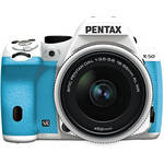 Pentax K-50 Digital SLR Camera with 18-55mm f/3.5-5.6 Lens (White/Aqua)