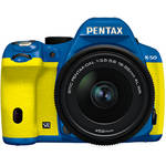 Pentax K-50 Digital SLR Camera with 18-55mm f/3.5-5.6 Lens (Blue/Yellow)