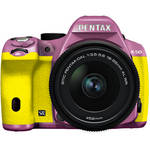 Pentax K-50 Digital SLR Camera with 18-55mm f/3.5-5.6 Lens (Lilac/Yellow)