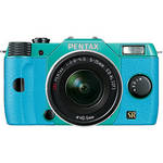 Pentax Q7 Compact Mirrorless Camera with 5-15mm f/2.8-4.5 Zoom Lens (Mint/Aqua)