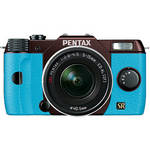 Pentax Q7 Compact Mirrorless Camera with 5-15mm f/2.8-4.5 Zoom Lens (Metal Brown/Aqua)