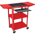 Luxor W42AREKBDL Adjustable Height Steel A/V Cart (Red)