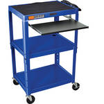 Luxor AVJ42KB Steel Adjustable A/V Cart with Pullout Keyboard Tray (${Color})