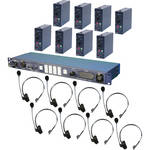 Datavideo ITC-100 8-User Wired Intercom System with 8 Beltpacks & 8 Headsets