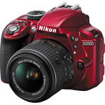 Nikon D3300 DSLR Camera with 18-55mm Lens (Red)