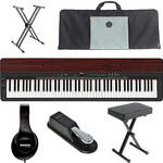 Yamaha P-155 Performance Value Bundle (Black/Mahogany)